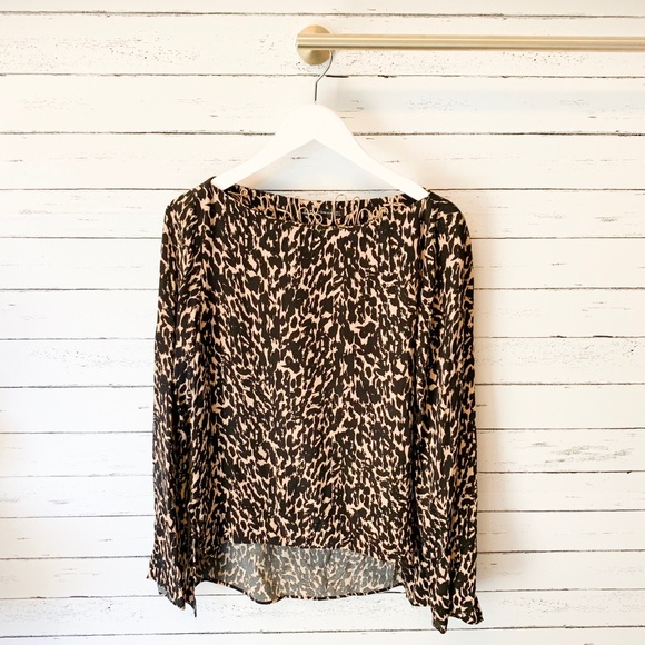 Zara Tops - Zara Woman Black and Tan Print Blouse